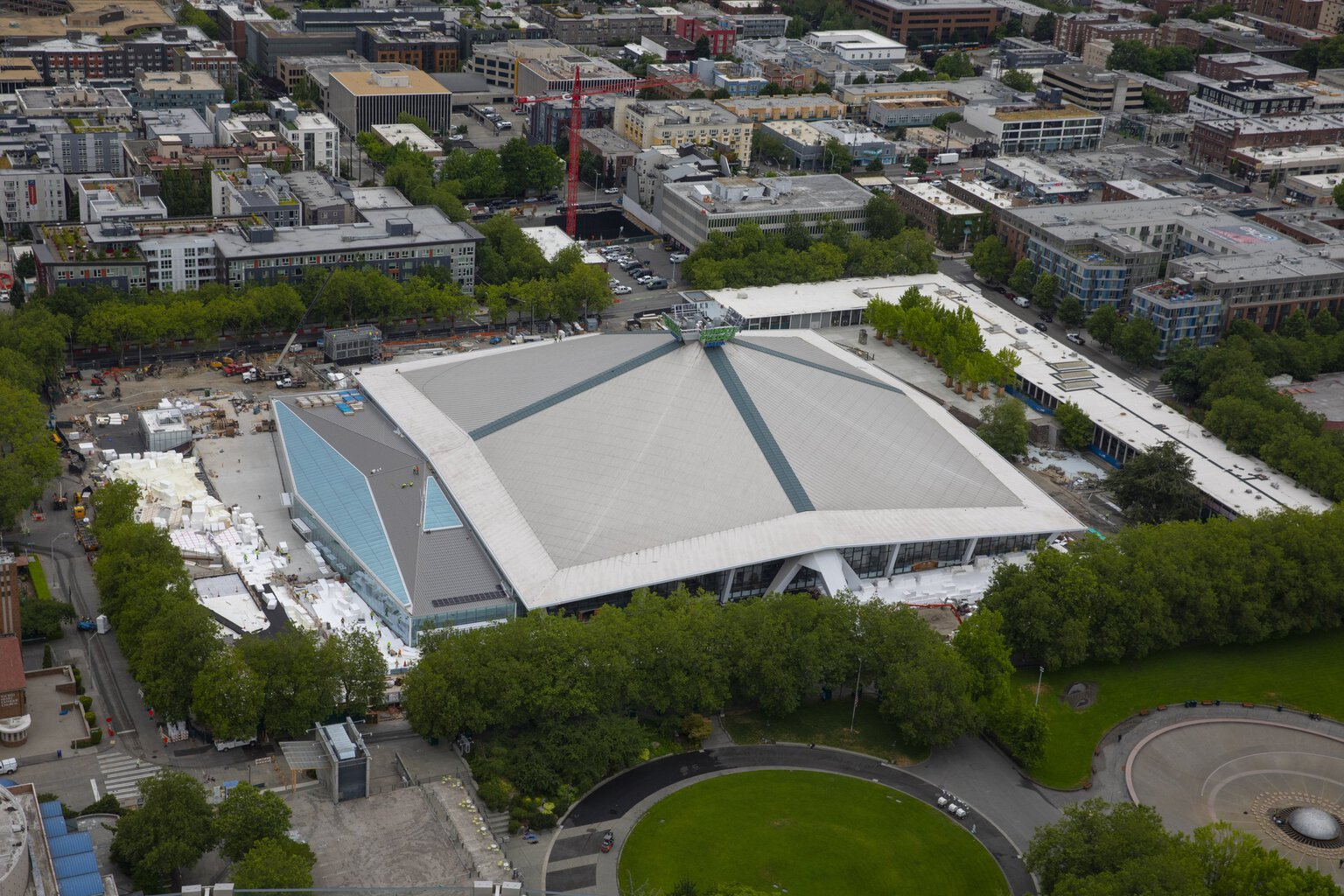 seattle kraken on track to open new arena in third week of